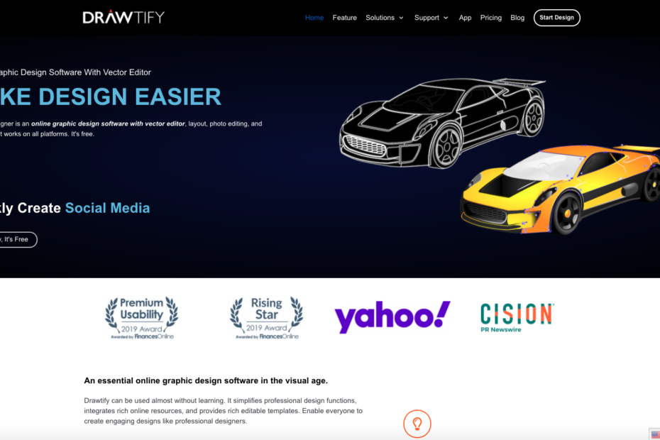 Drawtify designer is an online graphic design software with vector editor, layout, photo editing, and typography. It works on all platforms. It's free.
