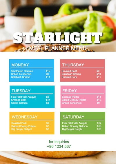 This is a sample of Drawtify's online free online menu maker.