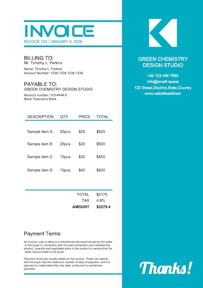 This is a sample of Drawtify's online free invoice maker.