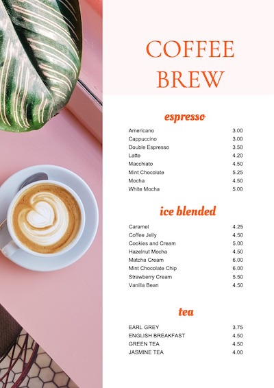 This is a sample of Drawtify's online free menu maker.