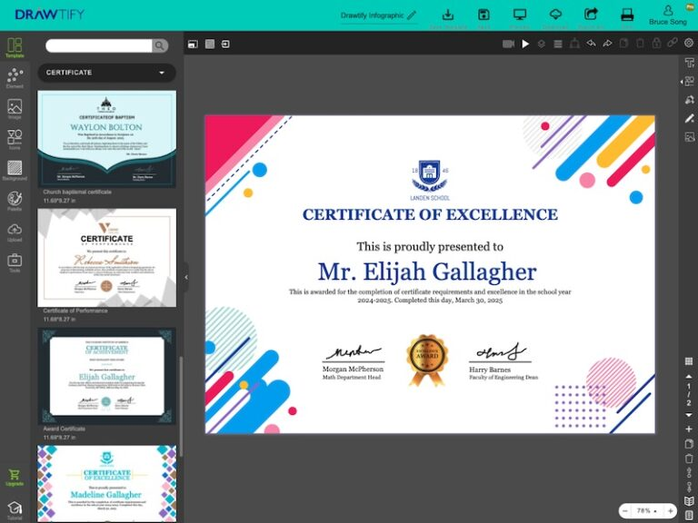 This is editor of Drawtify's online free certificate maker.