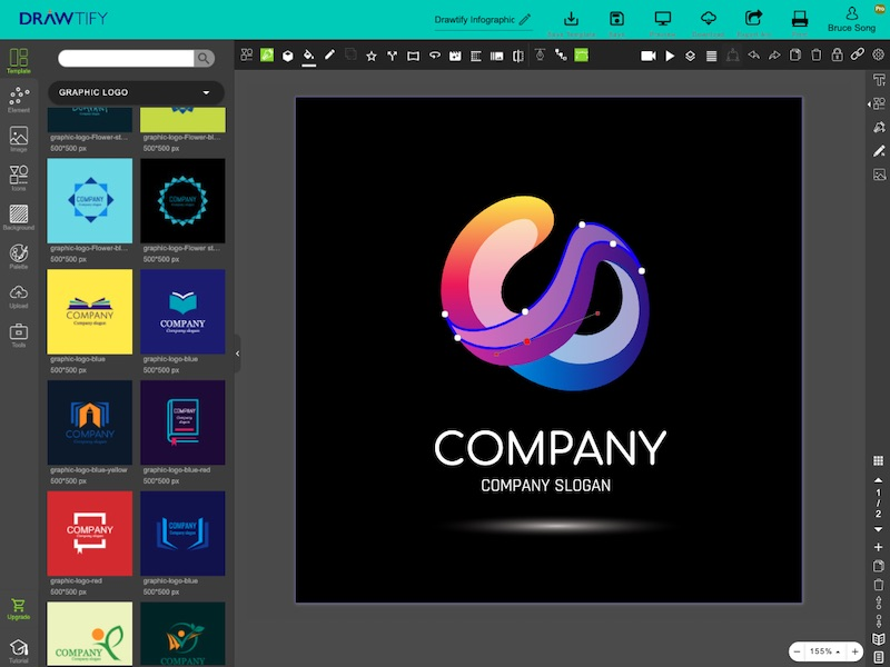 This is editor of Drawtify's free online logo maker. You can quickly design a custom vector logo.